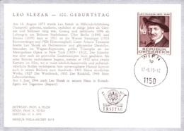 1973   100. Geb. Leo Slezak FDC Ksrte (ANK 1449, Mi 1419) - FDC