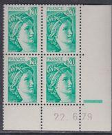 France N° 1967a Type Sabine Bde Phospho à Gauche 20 C.  En Bloc De 4 Coin Daté  Du 22 . 6 . 79 ;  1 Barre, Sans Ch., TB - 1970-1979