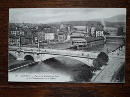 L19/422 Suisse. Geneve. Vue à Vol D'oiseau Au Pont De La Coulouvreniere Et Le Rhone - GE Geneva