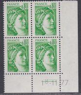 France N° 1970 Type Sabine : 80 C. Vert En Bloc De 4 Coin Daté  Du  18 . 11 . 77 ;  2 Traits, Sans Charnière, TB - 1970-1979