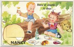 D54 - NANCY - BOIRET ET CHANTER A DEUX ... - PIQUE NIQUE FILLETTE ASSISE DANS L'HERBE LE GARCON SUR UN TRONC - A Systèmes