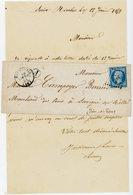 INDRE ET LOIRE LAC 1859 BOURGUEIL PC SUR N°14 DFT + T15 BOITE RURALE F = SAINT NICOLAS - Storia Postale