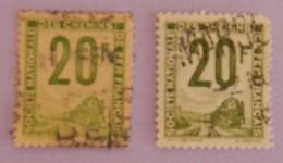 FRANCE COLIS POSTAUX 2X YT 11 OBLITERES 2 TEINTES DIFFERENTES ANNEES 1944/1947 - Oblitérés
