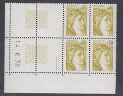 France N° 1971 XX Type Sabine Gomme Trop: 80 C. En Bloc De 4 Coin Daté à Gauche  Du 14 . 6. 78 ; Sans Trait, Ss Char, TB - 1970-1979