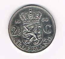//   NEDERLAND  2 1/2 GULDEN  1960 ZILVER - [ 3] 1815-… : Royaume Des Pays-Bas