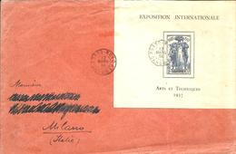 Lettre De PORTO-NOVO Pour MILANO ,affranchie Avec Le Bloc De L'Exposition De 1937 - Dahomey (1899-1944)