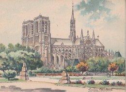 Barré & Dayez. Illustrateurs: Signé Lucien Baubaut. PARIS (75) Le Square Saint-Julien-le-Pauvre Et NOTRE DAME. N° 2302 P - Notre Dame De Paris