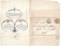 Paris Batignolles 1869:Familles BARRE Et FOSSIN. TP Yt 21A. étoile De Paris GC 20 - Wedding