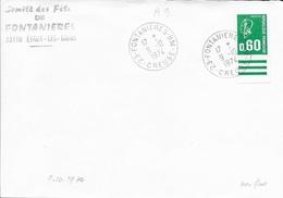 CREUSE 23 -   FONTANIERES B.M  - CACHET RECETTE N° A9  -  BOITE MOBILE - 1974 - Marcofilia (sobres)