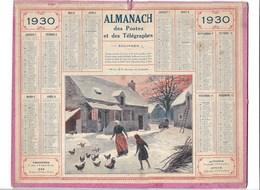 Almanach Des Postes Et Des Télégraphes 1930: Rentrée Du Poulailler Illustration BEUZON Compet - Calendars