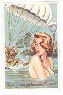 Humour Militaire N°399 Parachutistes Atterrissent Vers Baigneuse Aux Seins Nus Illustrateur ? - Humor
