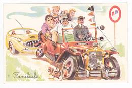 Illustrateur ? Humour Automobile N°398 Voiture Auto Familiale Très Chargée 8 Personnages Et Chauffeur - Humor