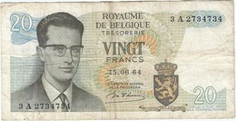 Bélgica - Belgium 20 Francs 15-6-1964 Pk 138 1 Ref 153-7 - [ 2] 1831-... : Reino De Bélgica