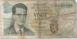 Bélgica - Belgium 20 Francs 15-6-1954 Pk 138 1 Ref 26 - [ 2] 1831-... : Reino De Bélgica