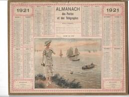 Almanach Des Postes Et Des Télégraphes 1921: Calme Du Soir Mode. Marine.   Complet - Calendars