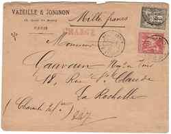 LETTRE CHARGE AVEC SAGE YT N°70  + YT N°72 - NUMÉRO BLANC 6762 - Marcophilie (Lettres)
