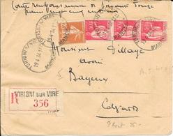 MANCHE 50   -  TORIGNI SUR VIRE  - CACHET RECETTE N° A5bis ROTOPLAN    - 1934 - ARRIVEE CALVADOS BAYEUX R A 4 - Marcophilie (Lettres)