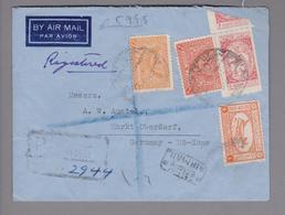 Saudi-Arabien 1950-02-24 Mecca R-Luftpostbrief Nach Markt Oberdorf DE - Arabie Saoudite
