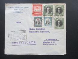Chile 1934 Luftpost R-Brief Valparaiso Nach München Ovaler Ak Stempel München 2 BZ / Bahnpost ?! - Chile