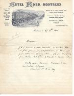 Lettre Photo 1906 / SUISSE / Hôtel EDEN à MONTREUX Bord Lac  LEMAN Propriétaire FALLEGGER-WYRSCH / Comtesse De SCEY - Switzerland