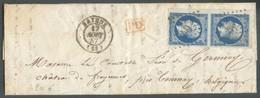 N°14(2) - 20 Centimes Bleu En Paire Verticale TB Margée Et Bdf Gauche  Obl; PC 293 Sur Lettre De BAYEUX Le 17 Août1857 + - 1853-1860 Napoléon III