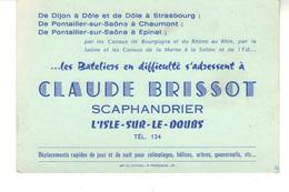 """Carte De Visite  """"Les Bateliers En Difficulté S'adressent à Claude Brissot   Scaphandrier"""".  L'ile-sur-le-doubs. - Houseboats"""