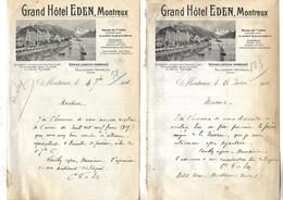 2 Lettres Photo 1907 / SUISSE / Hôtel EDEN à MONTREUX Bord Lac  LEMAN Propriétaire FALLEGGER-WYRSCH / Comtesse De SCEY - Switzerland