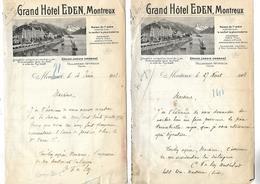 2 Lettres Photo 1907 / SUISSE / Hôtel EDEN à MONTREUX Bord Lac  LEMAN Propriétaire FALLEGGER-WYRSCH / Comtesse De SCEY - Suisse
