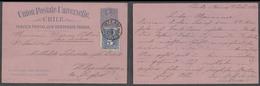 CHILE - Stationery. 1894 (7 July). Punta Arenas - Germany, Witzenhausen. 3c Blue Pink Stat Card 5c Adtl Cds Vapor Potosi - Chile
