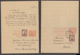 SERBIA. 1923 (21 Dec). Novi Becej - Germany, Cassel. 50 Para Red Doble Stat Card 1 Dinar Stamp Adtl Cds. VF Used. Scarce - Serbien