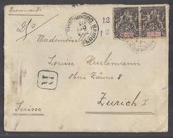 INDOCHINA. 1903 (3 Dec). Saigon Port - Switzerland, Zurich (22 Jan 04). Reg Fkd Env 50c Rate Aux 12rs. - Stamps