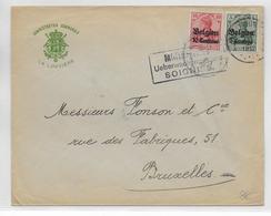 1917 - OCCUPATION ALLEMANDE En BELGIQUE - ENVELOPPE De LA LOUVIERE Avec CENSURE De SOIGNIES => BRUXELLES - WW I
