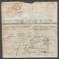 GREAT BRITAIN. 1853 (14 Dec). Isle Of Wight, Beanchy Head, Brixham (15 Dec) - London (19 Dec) - Aachen (20 Dec) - Kingso - ...-1840 Préphilatélie