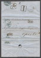 GIBRALTAR. 1855 (5 July). Gibraltar - Portugal, Porto (10 July). Stampless EL Reverse Blue Depart Cds Abatida From Lisbo - Gibraltar