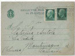 AN172   Regno 1940 Biglietto Postale Da Genova Per Montemagno Di Camaiore - Valori Gemelli - Storia Postale