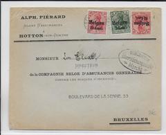 1917 - OCCUPATION ALLEMANDE En BELGIQUE - ENVELOPPE De HOTTON SUR OURTHE Avec CENSURE De MARCHE => BRUXELLES - WW I