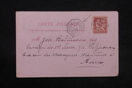 """FRANCE - Oblitération """" Marseille à Nouméa """"sur Carte Postale Pour Passager Du """" Polynésien """" à Aden En 1903 - L 28333 - Marcophilie (Lettres)"""