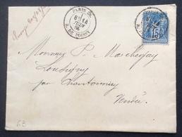 63 Paris 28. R.de Poissy 14/6/1885 Sage 15c - Postmark Collection (Covers)