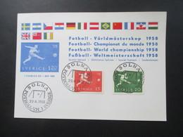 Fußball WM 1958 Schweden Sonderkarte Und SST Solna Fotboll VM I Sverige - Fußball-Weltmeisterschaft