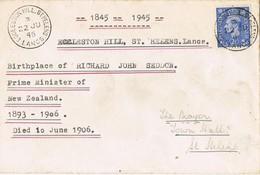 32580. Carta ECCLESTON HILL (St. Helens) Lancs 1946. Birthplace Richard John SEDDON - 1902-1951 (Rois)