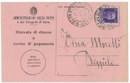 AN173   Regno 1932 Ricevuta Di Ritorno Reggiolo Annullo Frazionario (54-65) - Storia Postale