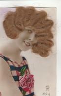 CPA:AJOUTI DE VRAIS CHEVEUX  SUR VISAGE JOLIE FEMME ENVOYÉ D'ÉPINAL LE 22 NOVEMBRE 1924..ÉCRITE - Postcards