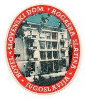 1960s, SLOVENIA, ROGASKA SLATINA, HOTEL SLOVENSKI DOM, HOTEL LABEL AND 1962 NEW YEARS GREETINGS CARD - Advertising