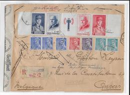 """1943 - BANDE YVERT N° 571A OBLITEREE Sur DEVANT De LETTRE RECOMMANDEE De BORDEAUX """"D"""" Avec CENSURE => BELGIQUE - Covers & Documents"""