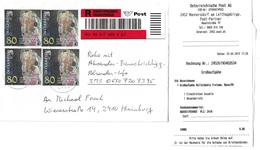 3047n: Heimatbeleg 2452 Mannersdorf Am Leithagebirge, Kleiner Postpartner, 4x Gustav Klimt- Mehrfachfrankatur, RR - Bruck An Der Leitha