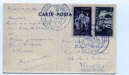 N 585 Et 586 Sur Carte Postale Journée Du Timbre Dijon 1943 - 1921-1960: Période Moderne