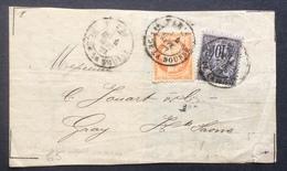 65 Siège N°38 + Sage N°89 Affranchissement Mixte Paris Pl.de La Bourse 4/9/1877 - Postmark Collection (Covers)