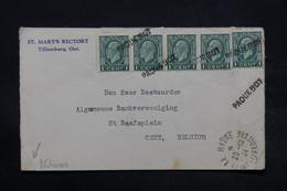 """CANADA - Griffe """" Paquebot """" Sur Enveloppe De Tillsonburg Pour La Belgique En 1934 Via Le Havre - L 28343 - Briefe U. Dokumente"""