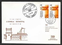 Portugal Premier Vol TAP Direct Lisbonne Lisboa Genève Suisse 1977 First Flight Lisbon Geneva Switzerland - Poste Aérienne