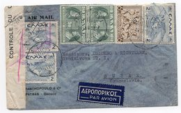 1939 GREECE, AIR MAIL, GREECE TO SUSAK, YUGOSLAVIA, CENSORED, BANDEROLL ON THE LEFT - Greece